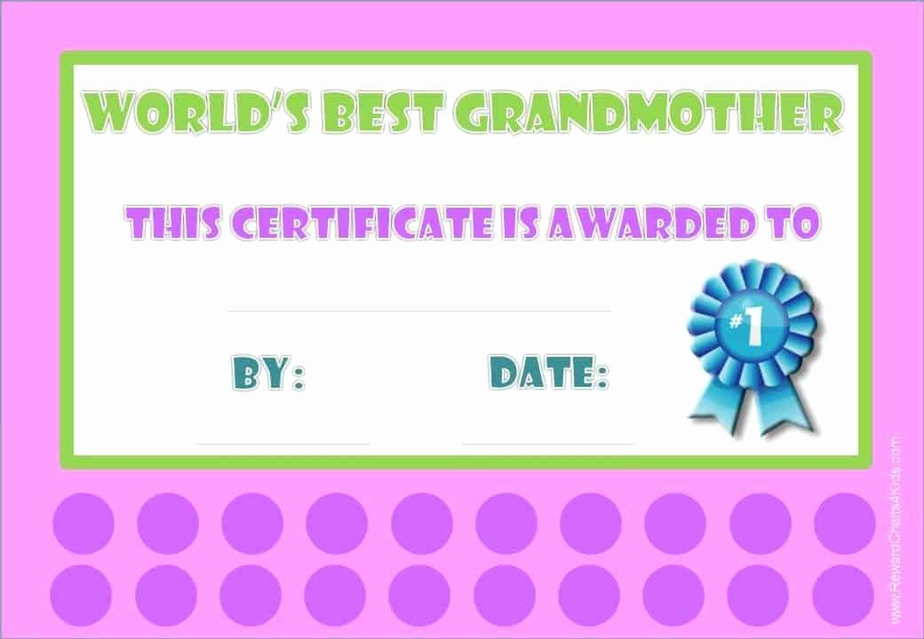 Best Mom In the World Award Beautiful Best Grandmother Certificate