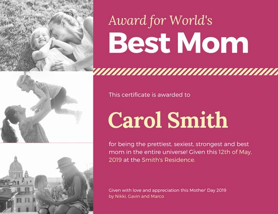 Best Mom In the World Award Elegant Customize 1 968 Certificate Templates Online Canva