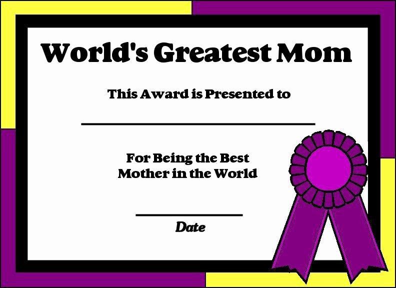 Best Mom In the World Award Elegant Printable Certificates for Moms
