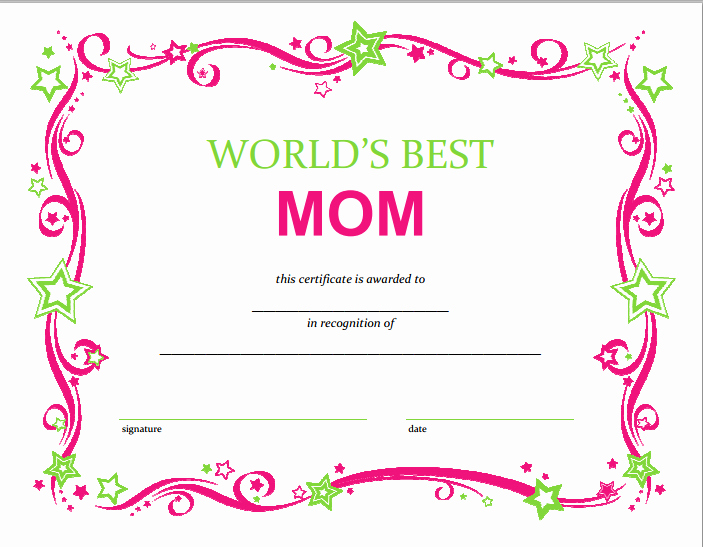 Best Mother Award Certificate Awesome Free Mothers Day Printable Certificate