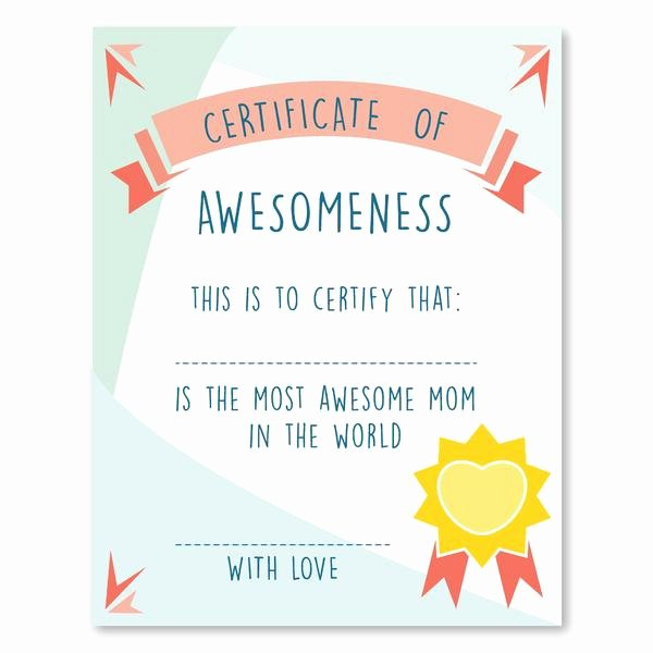 Best Mother Award Certificate Awesome Mother S Certificate Of Awesomeness Mother S Day Gift