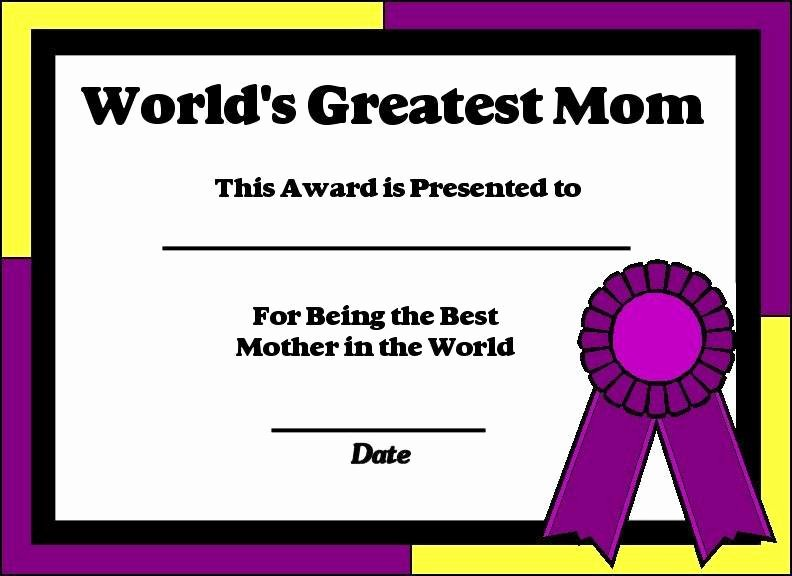 Best Mother Award Certificate Awesome Mother S Day Certificates Let S Celebrate