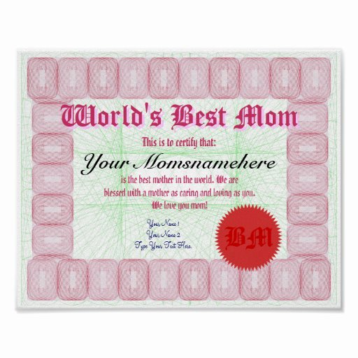 Best Mother Award Certificate Elegant Make A World S Best Mom Award Certificate Print