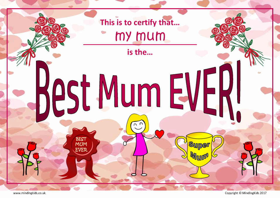Best Mother Award Certificate Luxury Mother S Day Certificate Mindingkids