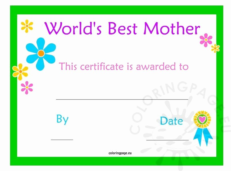 Best Mother Award Certificate Luxury Mother's Day Certificate – Coloring Page