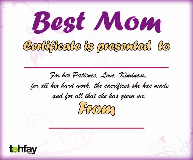 Best Mother Award Certificate Unique Pin Best Mother Certificate On Pinterest