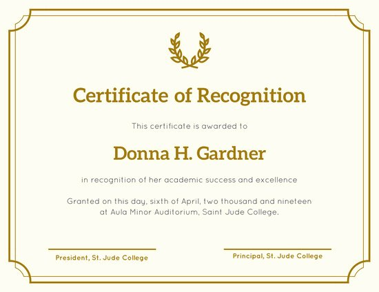 Best Paper for Certificates Awesome Customize 204 Recognition Certificate Templates Online