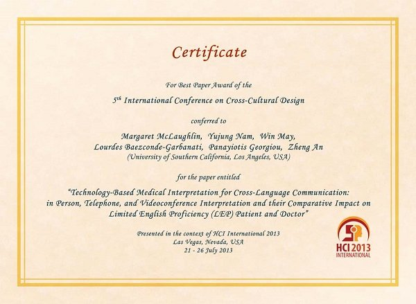Best Paper for Certificates Fresh Hci International