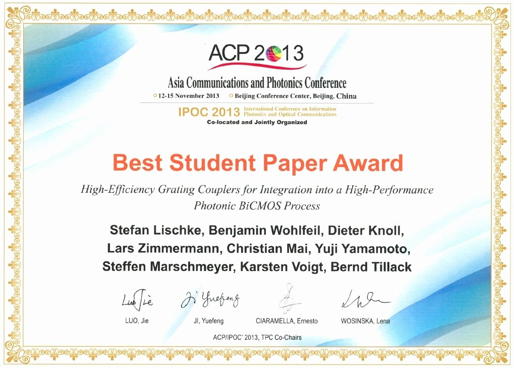 Best Paper for Certificates New Ihp Awards