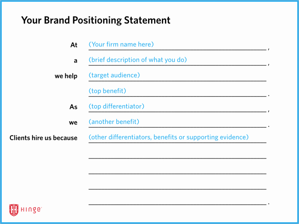Best Personal Brand Statements Fresh Brand Positioning Strategy for the Professional Services