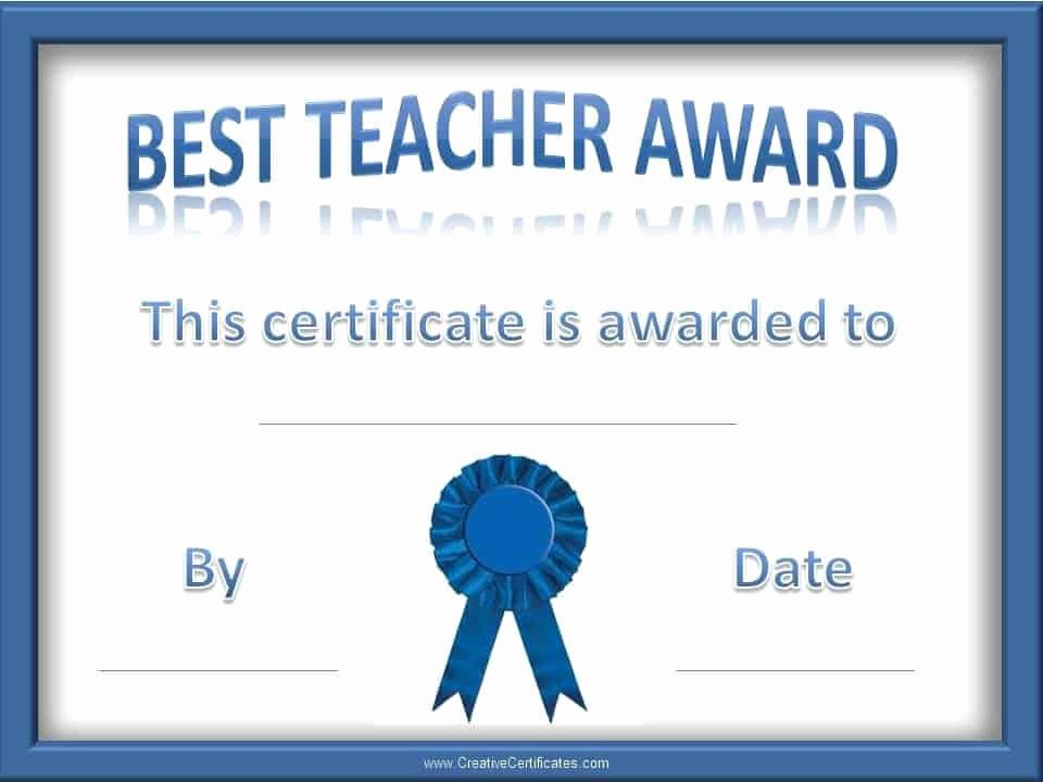 Best Teacher Award Certificate Awesome Teacher Of the Year Award Certificates