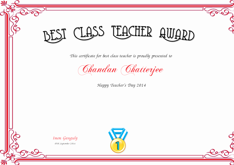 Best Teacher Award Certificate Best Of Best Class Teacher Award Certificate