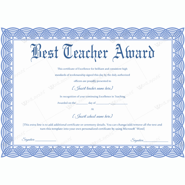 Best Teacher Award Certificate Best Of Best Teacher Award 09
