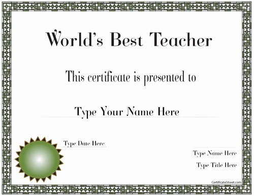 Best Teacher Award Certificate Elegant Education Certificates Best Teacher In the World Award