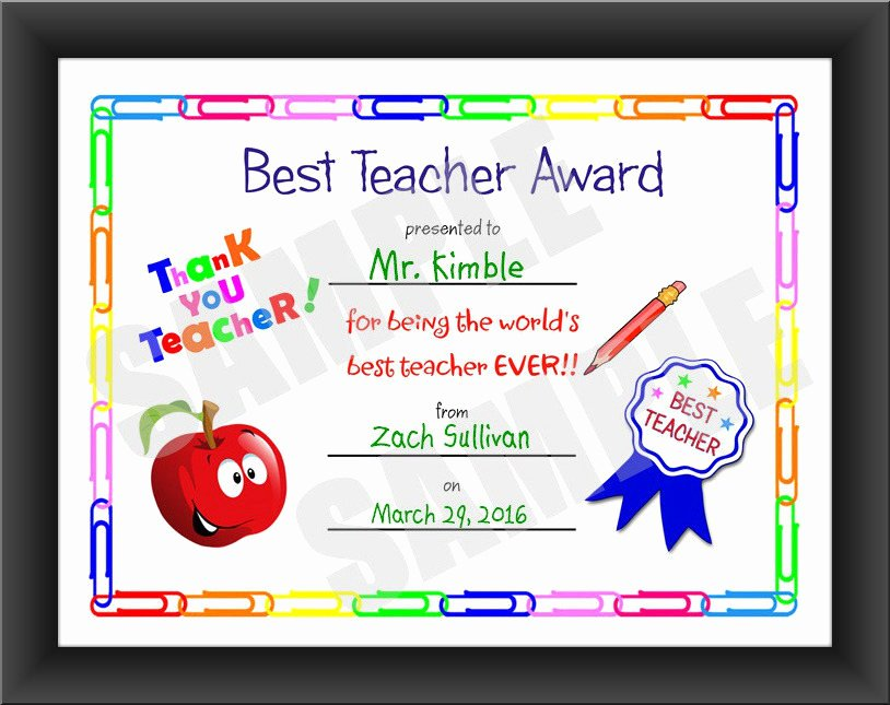 Best Teacher Award Certificate Inspirational Certificate Best Teacher Kids Certificate Printable