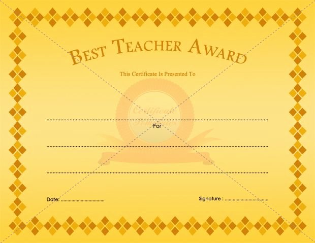 Best Teacher Award Certificate Lovely Best Teacher Award Certificate Template