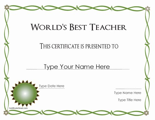 Best Teacher Award Certificate Lovely Certificate Street Free Award Certificate Templates No