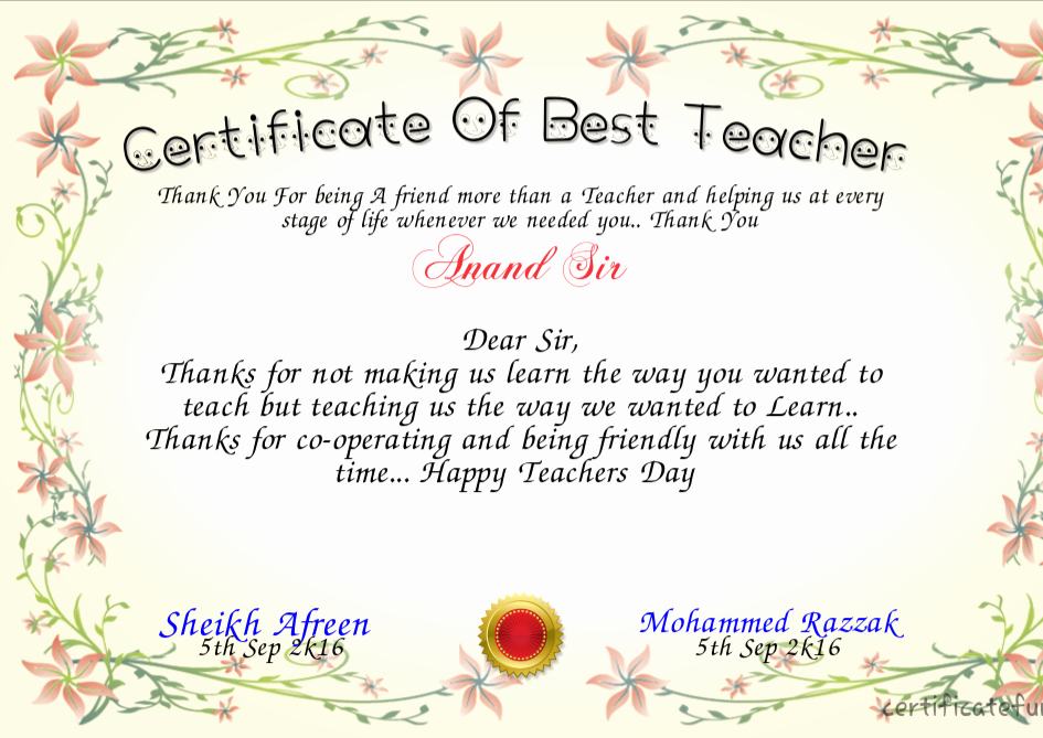 Best Teacher Award Certificate Luxury World S Best Teacher