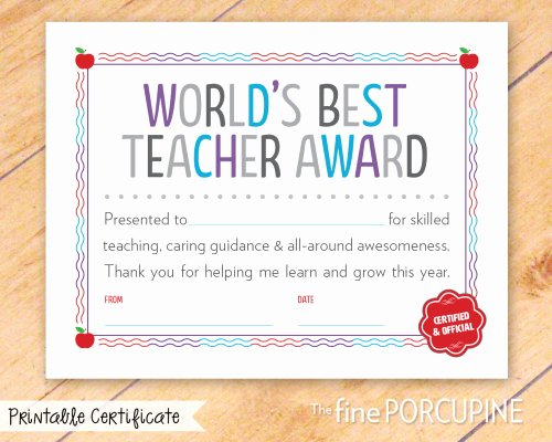 Best Teacher Award Certificate New World's Best Teacher Award Printable Certificate