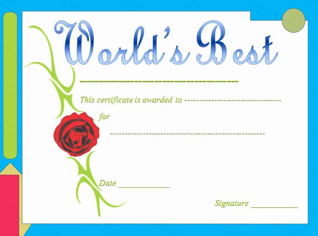 Best Teacher Award Printables Fresh Red Rose themed World S Best Award Certificate Template