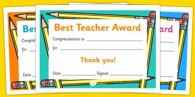 Best Teacher Award Printables Inspirational Best Teacher Award Certificate Reward Thank You