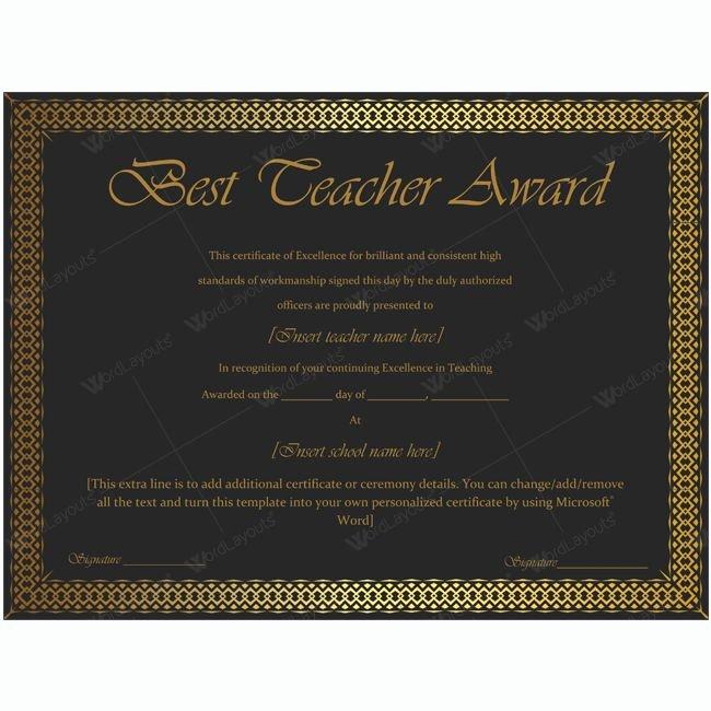 Best Teacher Award Printables Luxury 1000 Images About Best Teacher Award Certificate
