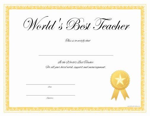 Best Teacher Award Printables Unique World's Best Teacher Certificate Free Printable