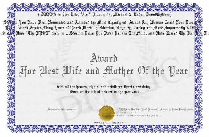 Best Wife Award Certificate Awesome Award for Best Wife and Mother the Year