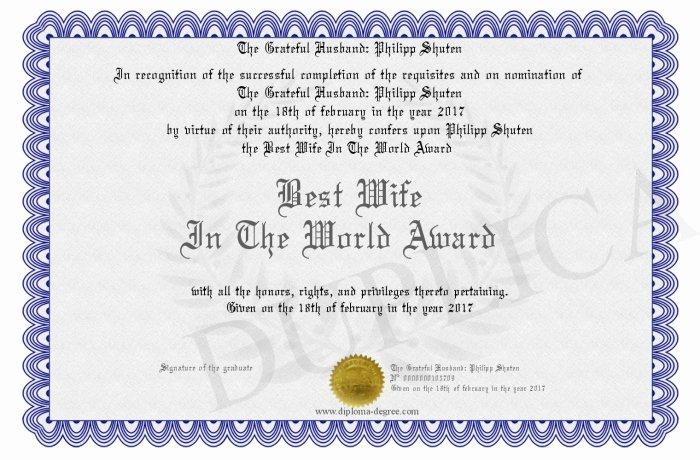 Best Wife Award Certificate Best Of Best Wife In the World Award