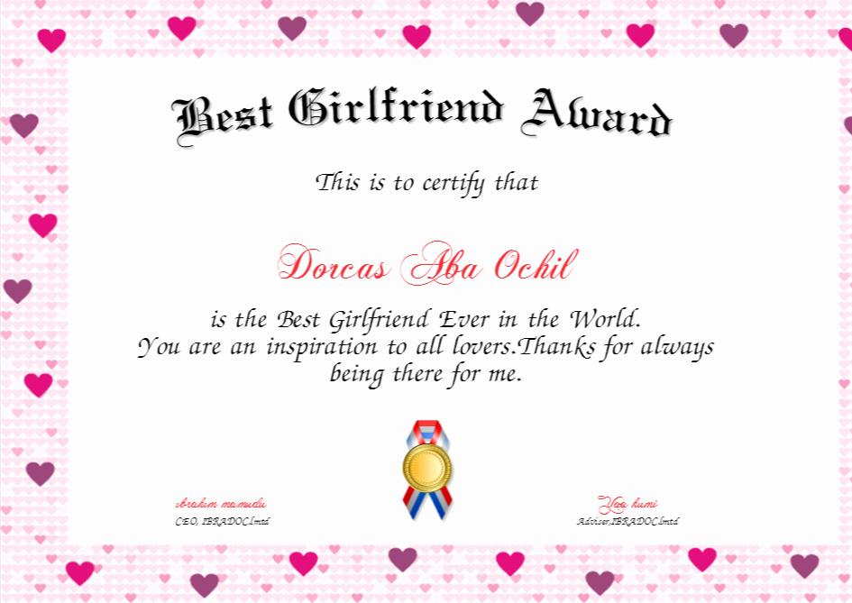 Best Wife Award Certificate Elegant Best Girlfriend Award Certificate