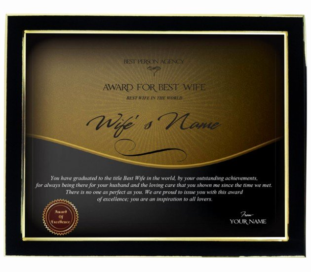 Best Wife Award Certificate Elegant Personalized Certificate for Worlds Best Wife with Frame