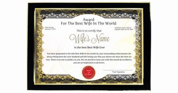 Best Wife Award Certificate Fresh Personalized Award Certificate for Worlds Best Wife with Frame