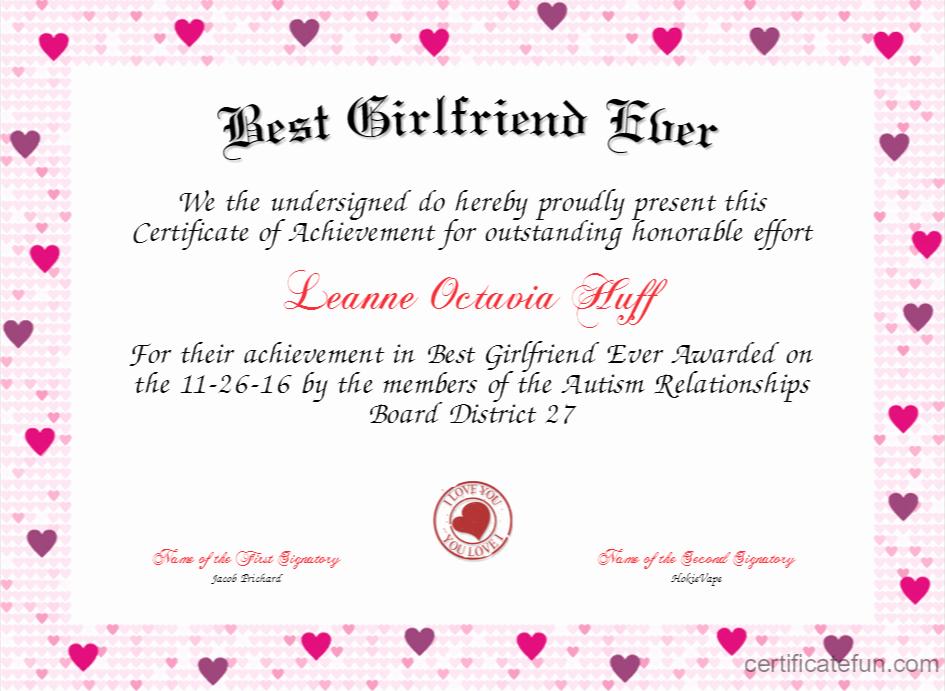 Best Wife Award Certificate Lovely Best Girlfriend Ever Certificate