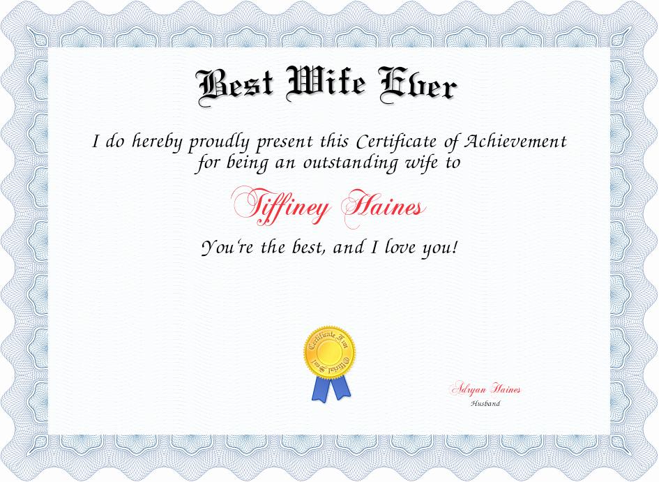 Best Wife Award Certificate Lovely Best Wife Ever Certificate