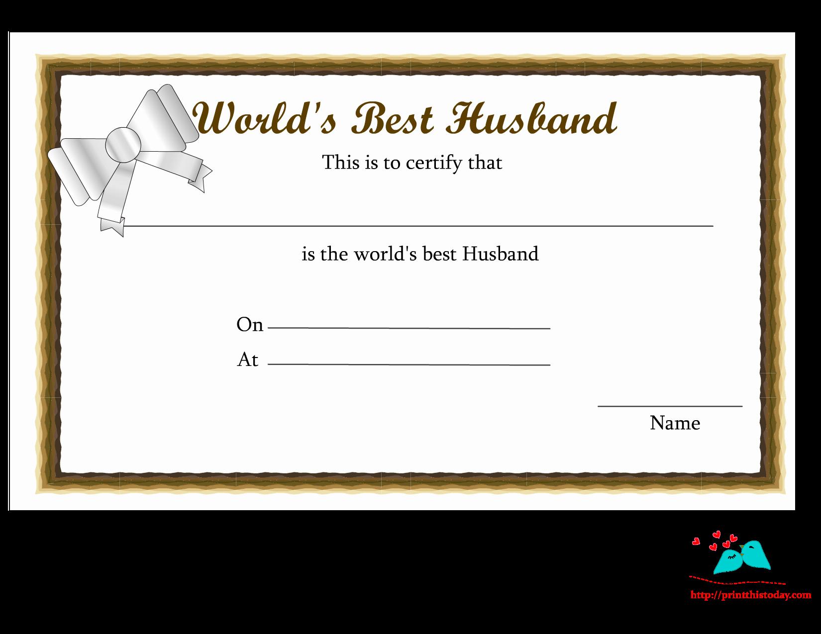Best Wife Award Certificate Lovely Free Printable World S Best Husband Certificates