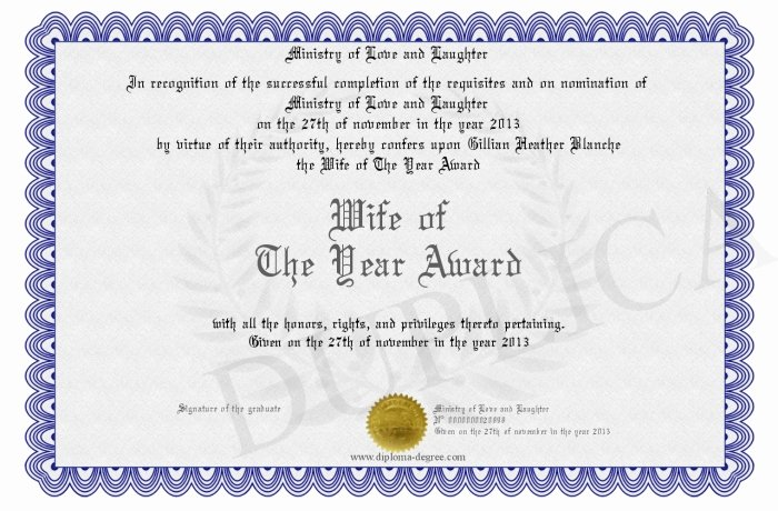 Best Wife Award Certificate Lovely Wife Of the Year Award