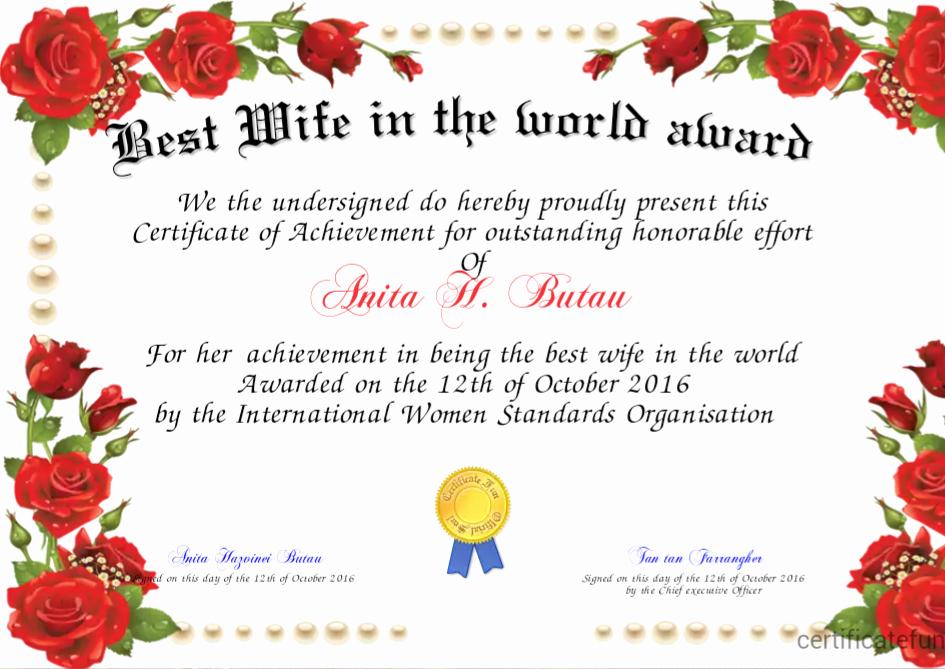 Best Wife Award Certificate Luxury Best Wife In the World Award Certificate