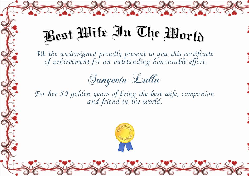Best Wife Award Certificate Luxury Best Wife In the World Certificate