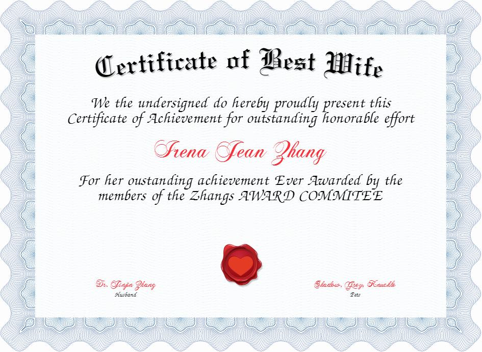 Best Wife Award Certificate New Certificate Of Best Wife Certificate