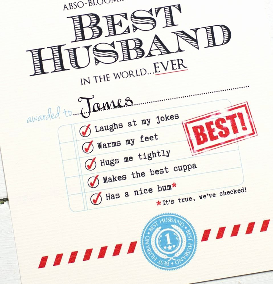 Best Wife Award Certificate New Personalised Best Husband Certificate by Eskimo Kiss