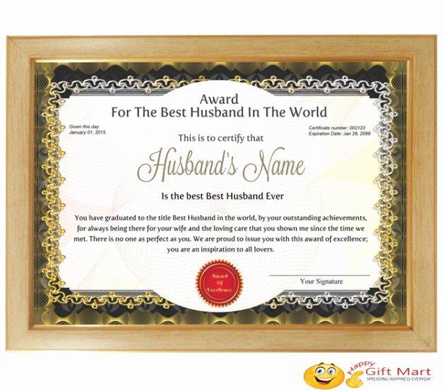 Best Wife Award Certificate Unique Personalized Award Certificate for Worlds Best Husband