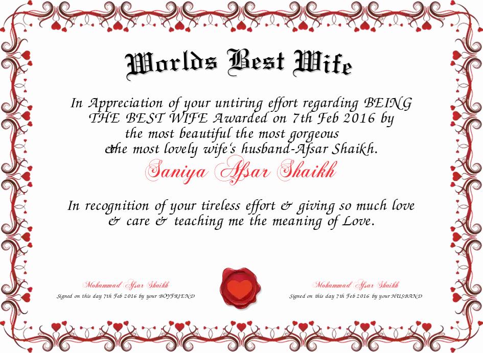 Best Wife Award Certificate Unique Worlds Best Wife Certificate