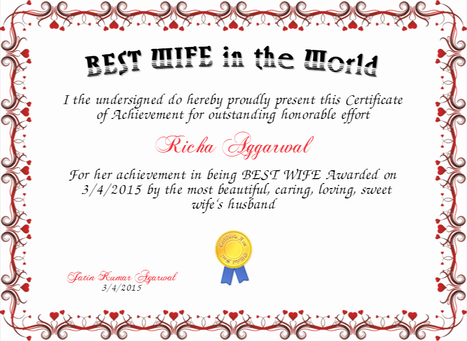 Best Wife Ever Award Awesome Best Wife In the World Certificate