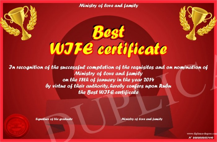 Best Wife Ever Award Elegant Best Wife Certificate