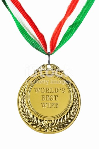 Best Wife Ever Award Elegant Gold Medal isolated White Worlds Best Wife Stock