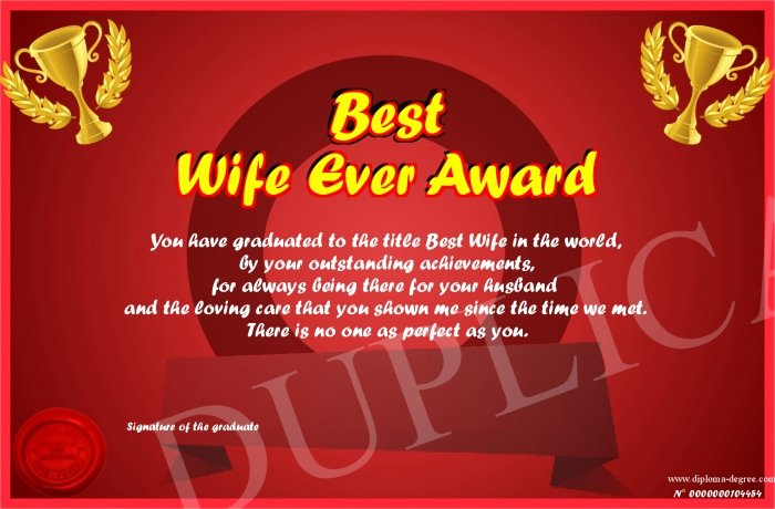 Best Wife Ever Award Luxury Best Wife Ever Award