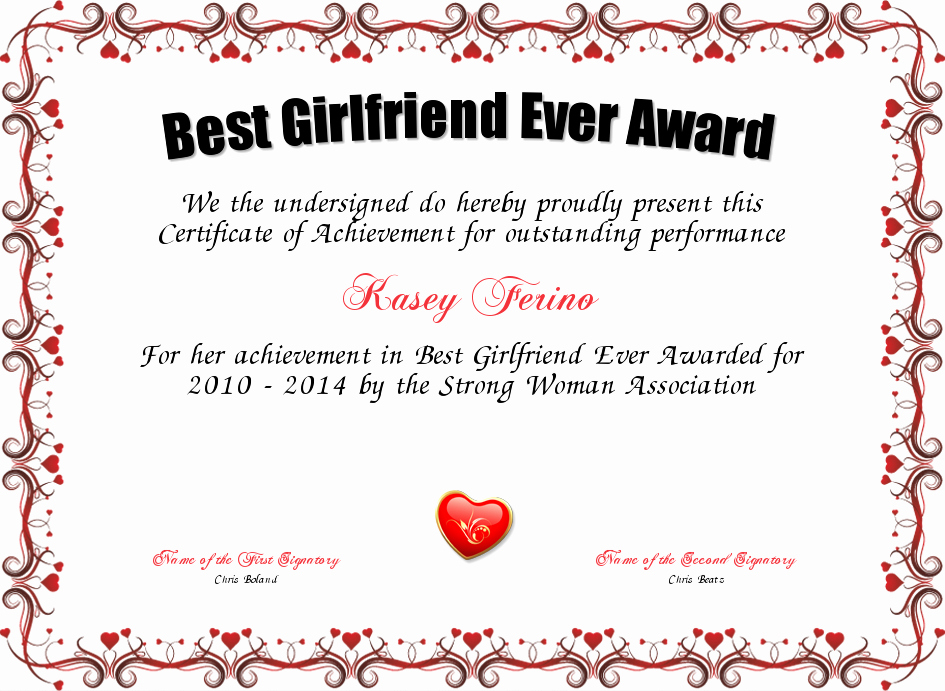 Best Wife Ever Trophy Lovely Best Girlfriend Ever Award Certificate