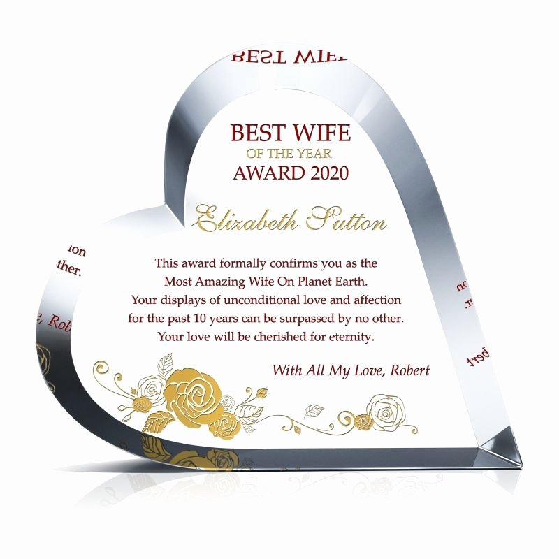 Best Wife Ever Trophy New Best Wife Of the Year Award Wording Sample by Crystal