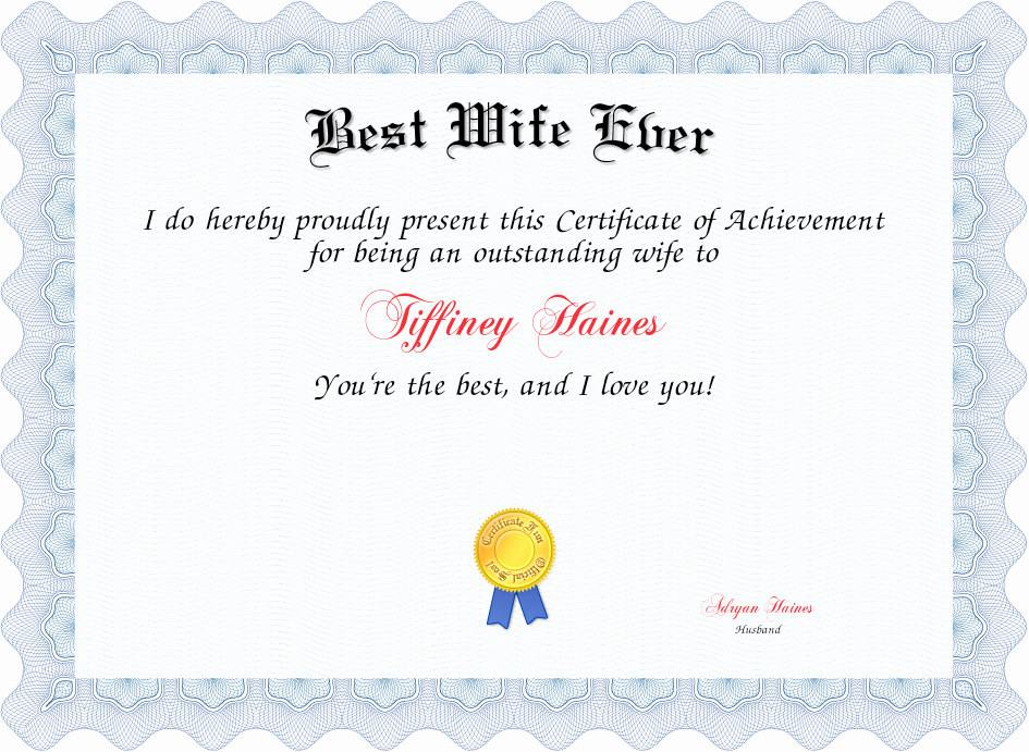 Best Wife In the World Award Beautiful Best Wife Ever Certificate