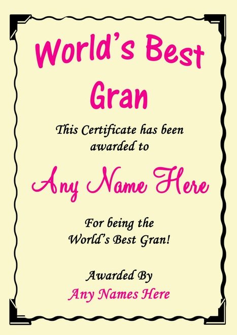 Best Wife In the World Award Luxury Sister Best In the World Award Personalised Certificate